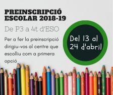 Preinscripció escolar: del 13 al 24 d'abril